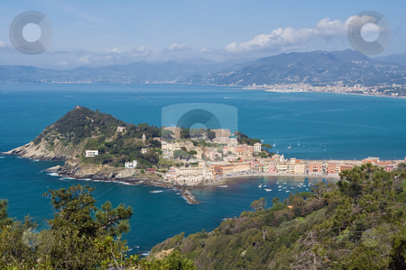Sestri Levante stock photo, Aerial view of Sestri Levante with its characteristic peninsula. by ANTONIO SCARPI