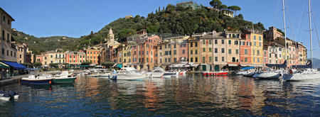 Portofino panorama stock photo, Panorama of Portofino, famous small town in Mediterranean sea, Liguria, Italy by ANTONIO SCARPI
