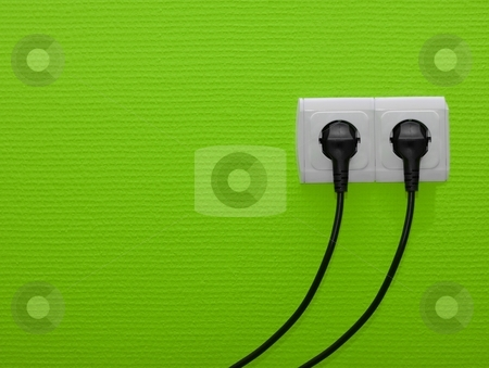 Socket stock photo, Electric outlets on green wall by P?