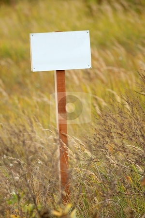Sign stock photo, Blank sign board on a field by P?