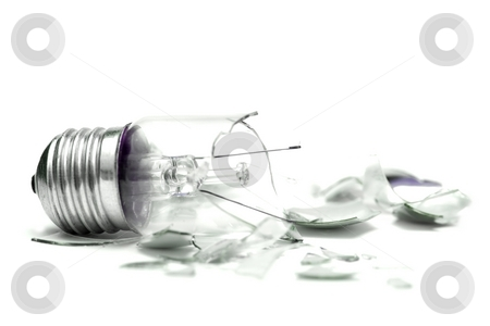 Bulb stock photo, Broken lightbulb isolated on white by P?
