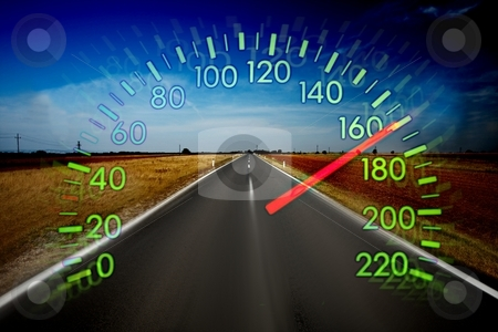 Speed stock photo, Speedometer over a blurred road representing driving very fast by P?