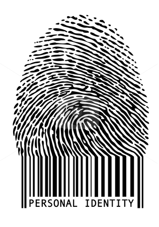 Barcode fingerprint, vector stock vector clipart, Personal identity, fingerprint with barcode, vector by Beata Kraus