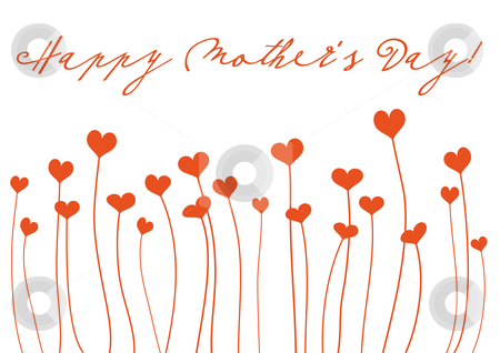 Happy Mother's Day stock vector clipart, Mother's day greeting card with heart flowers, vector by Beata Kraus