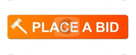 Place Bid Orange stock photo, Place Bid button with a auction hammer on white background. by Henrik Lehnerer