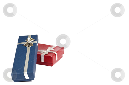 Gift stock photo, Two gift box red and blue with white background by Jose Carlos Lorenzo Garcia