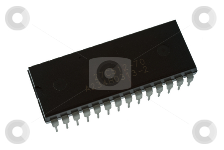 Large multi pin IC stock photo, Large Multi pin IC Integrated circuit chip. by Stuart Atton