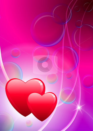 Two hearts valentine's day background with Soap Bubbles stock vector clipart, Soap Bubbles Original vector illustration EPS10 by L Belomlinsky