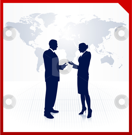 Business team silhouettes on corporate world map background stock vector clipart,  by L Belomlinsky