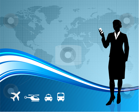 Female Business traveler on global communication background stock vector clipart,  by L Belomlinsky