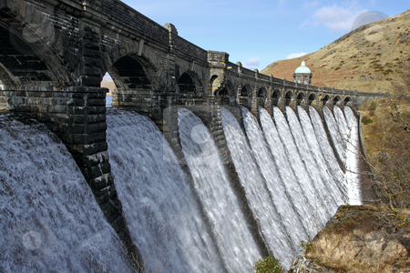 Craig Goch dam overflowing with water, Elan Valley Wales. stock photo, Craig Goch dam overflowing with water, Elan Valley Wales. by Stephen Rees