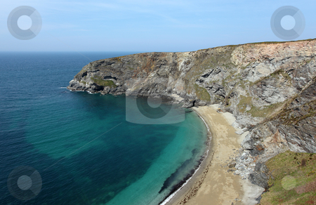 Golden Heane an inaccessible beach near Portreath stock photo, Golden Heane an inaccessible beach near Portreath, Cornwall UK. by Stephen Rees