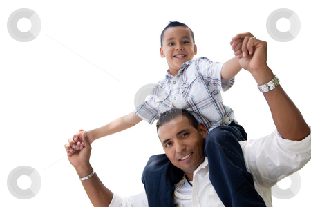 Hispanic Father and Son Having Fun Isolated on White stock photo, Hispanic Father and Son Having Fun Isolated on a White Background. by Andy Dean
