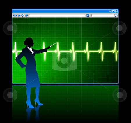 Business woman on background with web browser internet pulse pag stock vector clipart, Original Vector Illustration: Business woman on background with web browser internet pulse page AI8 compatible by L Belomlinsky