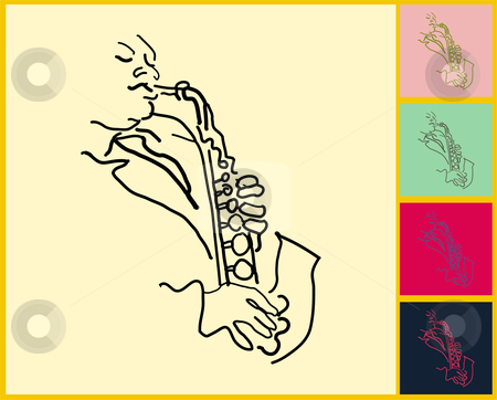Saxophone player live jazz and blues stock vector clipart,  by L Belomlinsky