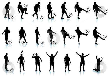 Soccer/football  player detailed silhouette set stock vector clipart, Soccer/football  player detailed silhouette set 21 unique illustrations Each soccer/football player is grouped by L Belomlinsky