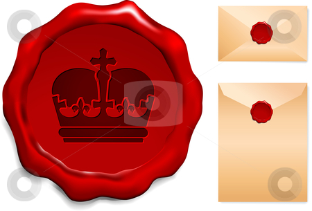 Crown on Wax Seal stock vector clipart, Crown on Wax Seal Origianl Vector Illustration Wax Seal Letter Stamp Ideal for Old Style Concept by L Belomlinsky