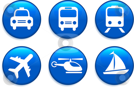 Transportation Buttons stock vector clipart, Transportation Buttons Original Vector Illustration Buttons Collection by L Belomlinsky