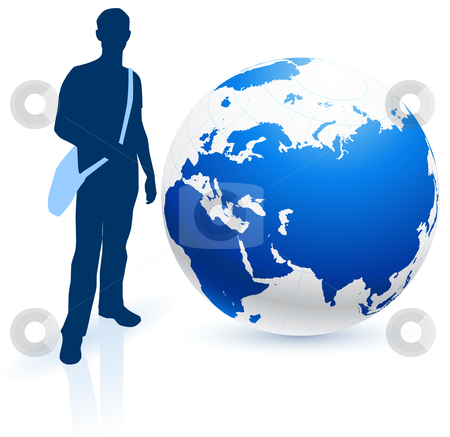 Young Man Traveler around the World stock vector clipart, Young Man Traveler around the World Original Vector Illustration by L Belomlinsky