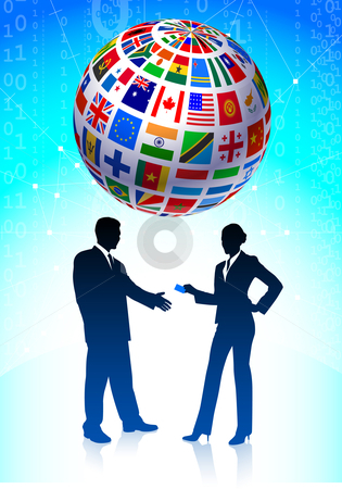 Business team with Flags Globe stock vector clipart, Business team with Flags Globe Original Vector Illustration by L Belomlinsky