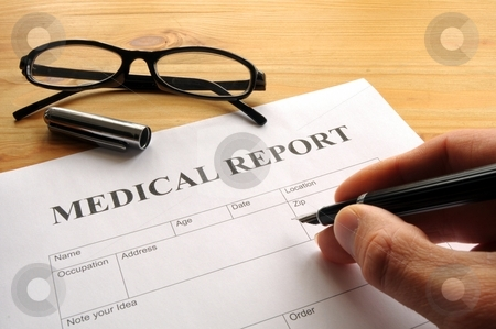 Medical report stock photo, Medical report form in doctors hospital office showing health concept by Gunnar Pippel
