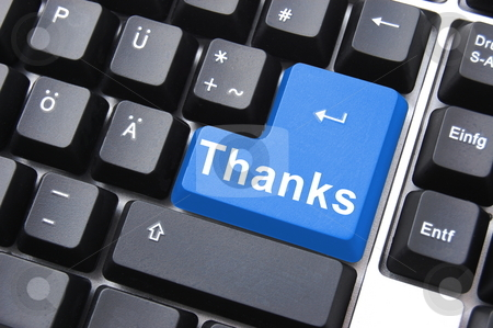 Thank you stock photo, Thanks written on computer button to say thank you by Gunnar Pippel