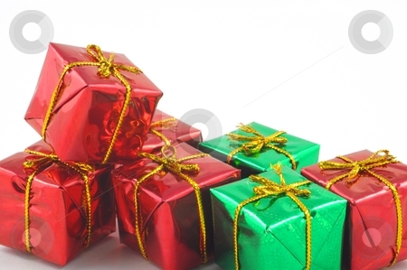 Xmas or christmas present box stock photo, Xmas or christmas present box isolated on white background by Gunnar Pippel