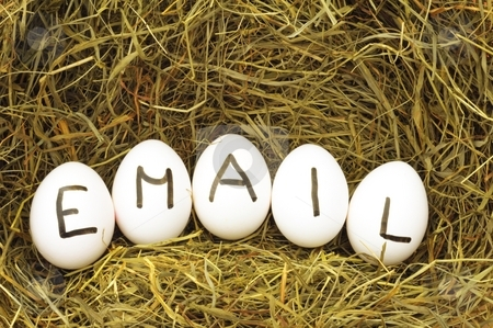 Email stock photo, Mail or email internet concept with eggs on hey or strew by Gunnar Pippel