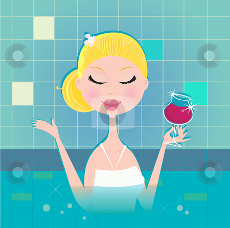 Lady with drink in whirpool   stock vector clipart, Hot lady with wine in whirpool. Lifestyle vector Illustration. by BEEANDGLOW