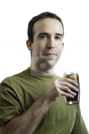 Beverage Man stock photo, A young man holding a cold cola with ice, isolated against a white background by Richard Nelson
