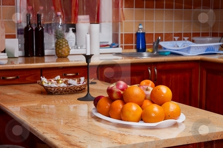 Kitchen stock photo, Kitchen interior with fruits on the table by P?
