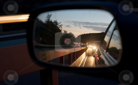 Traffic stock photo, Heavy traffic reflecting in the mirror by night by P?