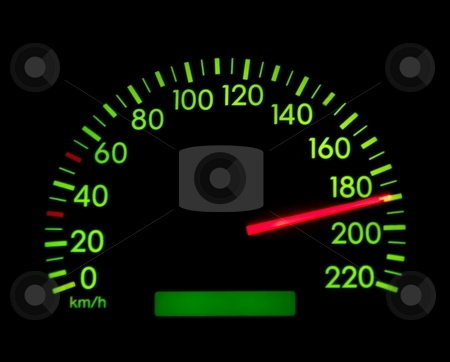 Speedometer stock photo, Speedometer showing 190, glowing green in the dark by P?