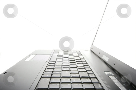 Laptop stock photo, Black laptop isolated on white background by P?