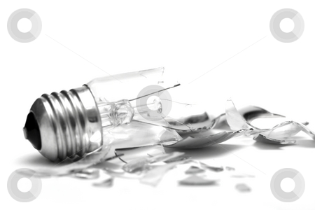 Bulb stock photo, Broken lightbulb isolated on pure white background by P?