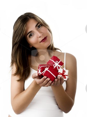 Christmas woman stock photo, Christmas season! Different poses of a beautiful woman with small gifts on the hands.  (Focus is on the gifts) by ikostudio
