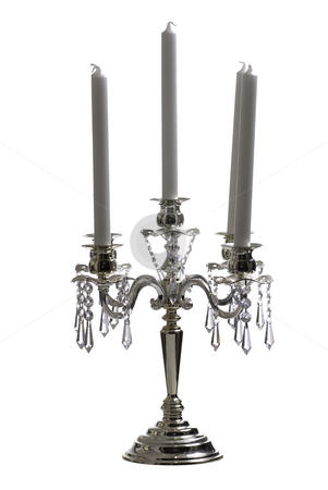 Isolated Candelabra stock photo, A 5 post candelabra isolated against a white background by Richard Nelson