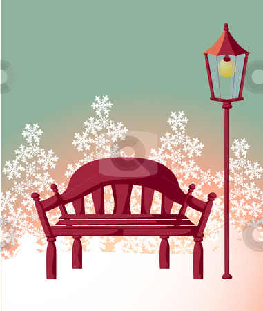 Wood chair ,streetlight ,snowflake stock photo, Wood chair and streetlight,snow all over the sky by Su Li