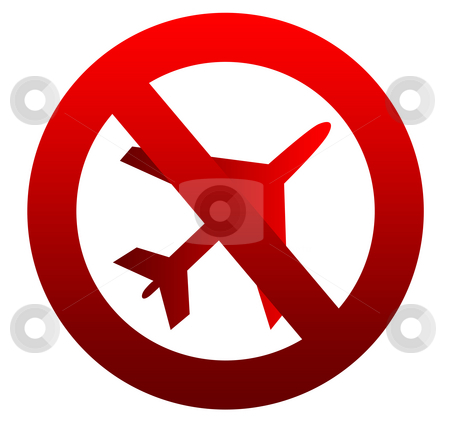 No flying aircraft sign stock photo, Red no flying aircraft sign isolated on white background. by Martin Crowdy