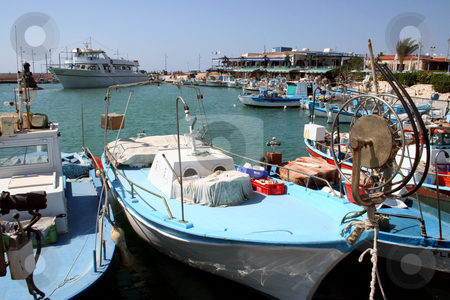 Cyprus fishing boats stock photo, Scenic view of fishing boats moored in Limassol harbor on island of Cyprus. by Martin Crowdy