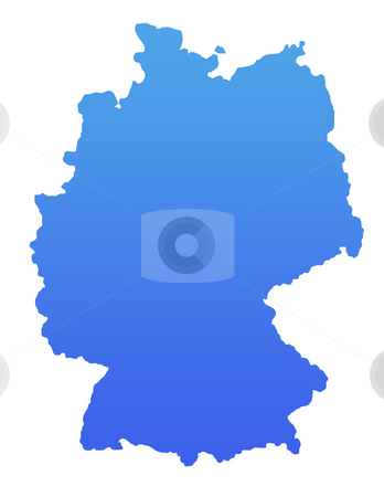 Blue Germany stock photo, Germany map in gradient blue, isolated on white background. by Martin Crowdy