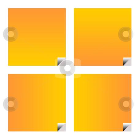 Blank orange business stickers stock photo, Blank orange business stickers or labels isolated on white background. by Martin Crowdy