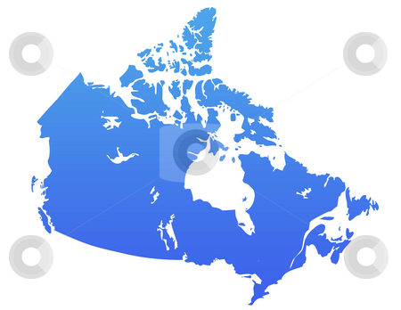 Blue Canada map stock photo, Canada map in gradient blue, isolated on white background. by Martin Crowdy