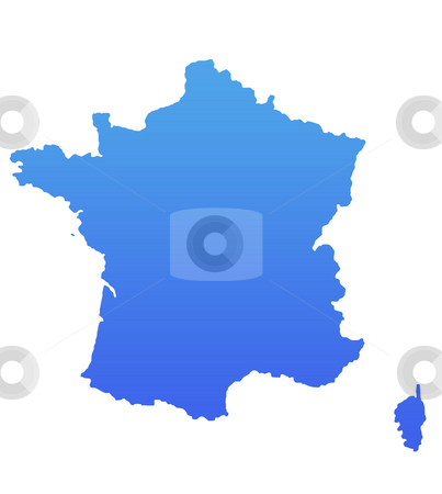 Blue France map stock photo, France map in gradient blue, isolated on white background. by Martin Crowdy