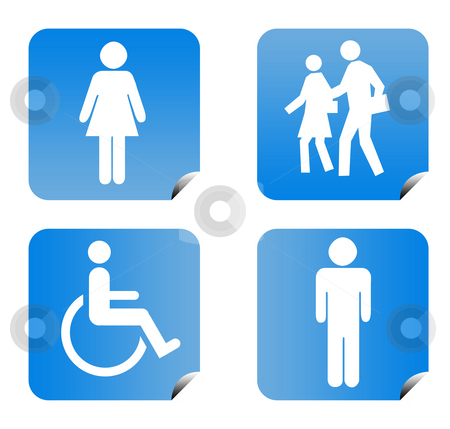 People silhouette buttons stock photo, Blue gradient people silhouette buttons isolated on white background. by Martin Crowdy