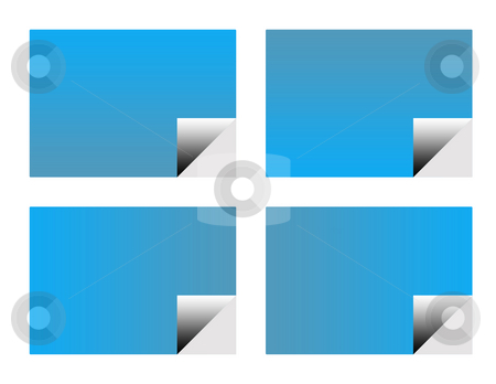 Blank blue business labels stock photo, Set of four blank blue business cards or labels isolated on white background. by Martin Crowdy