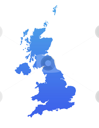 Blue England map stock photo, England or United Kingdom map in gradient blue, isolated on white background. by Martin Crowdy