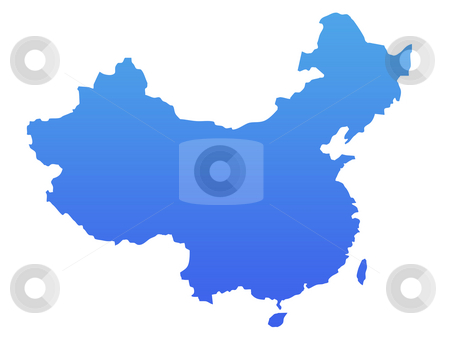 Blue China map stock photo, China map in gradient blue, isolated on white background. by Martin Crowdy