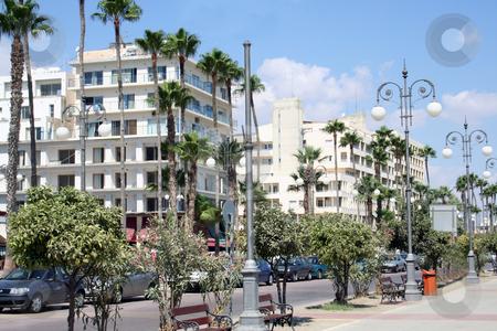 Ayia Napa street scene stock photo, Tourist hotels on street in Ayia Napa resort, Cyprus. by Martin Crowdy