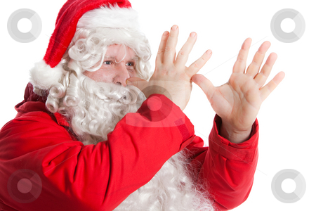Funny Santa Claus stock photo, Funny Santa Claus showing long nose with two hands by Ruta Balciunaite